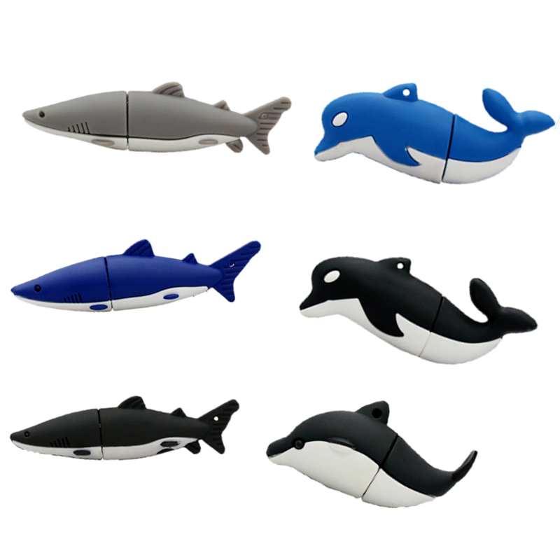 Usb Flash Drive Mini Animal Dolphin Shark Lovely Gift Pen Drive Flash Memory Stick U Disk 8g 16gb 32gb 64gb Pendrive Thumbdrives