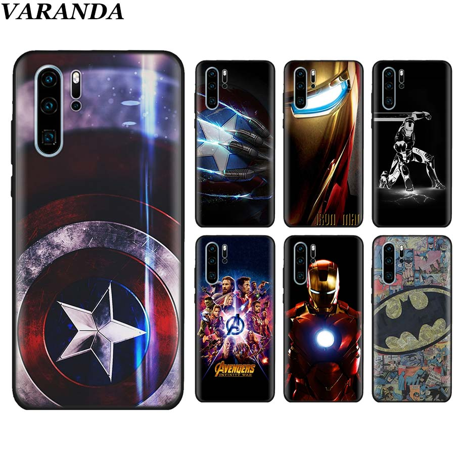 <font><b>Marvel</b></font> Avengers Captain Ironman superheroes Black Soft Case for <font><b>Huawei</b></font> P30 P30Pro <font><b>P10</b></font> P20 <font><b>Lite</b></font> P Smart Pro Silicone case image