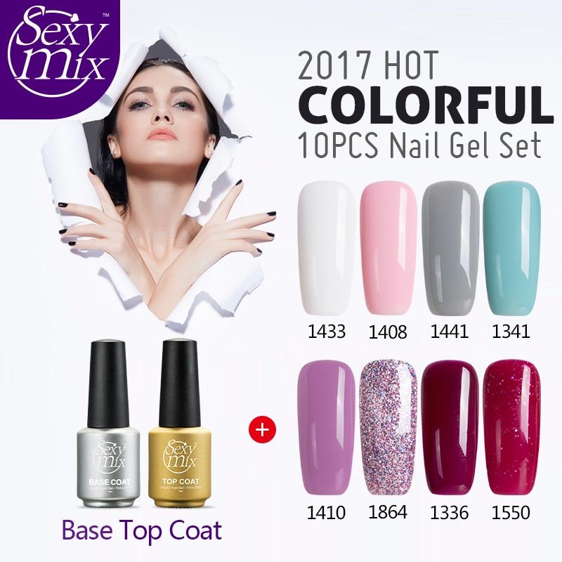 sexy mix any 10 pcs 2017 lucky colors hot top led uv gel nail polish base top primer nail gel. Black Bedroom Furniture Sets. Home Design Ideas