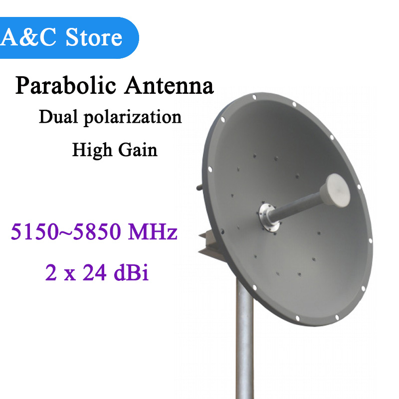 Gain élevé de double polarisation d'antenne parabolique d'antenne de 5g 5.8g 48dBi Mimo 5150 ~ 5850 MHz pour la transmission à distance de signal adaptée aux besoins du client