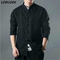 Cotton Lenin Men Casual Jacket Blaze Retro Black Gray Long Sleeve Male Coat Chinese Style Spring