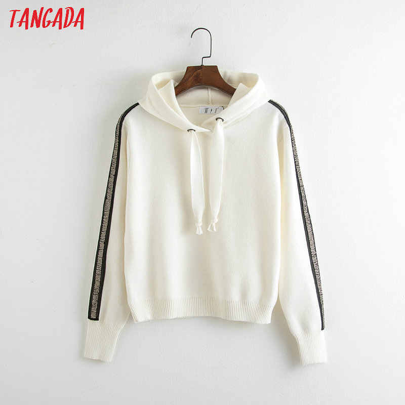 Tangada women diamond striped knit hooded sweatshirts pockets long sleeve  white pullovers causal female tops RY34 50d45bf465f9