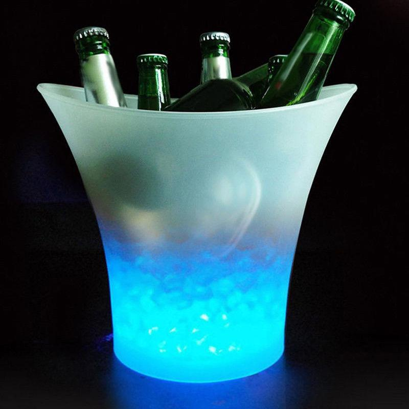 AKDSteel  Glowing 5L LED Ice Bucket Blue Light Champagne Wine Drink Beer Ice Cooler For KTV Party Bar
