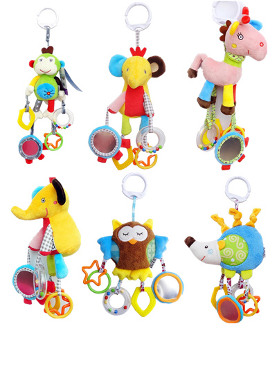 Baby Rattle Ring Bell Toys Soft Plush Crib Bed Hanging Animal Teether Infant Early Educational Doll