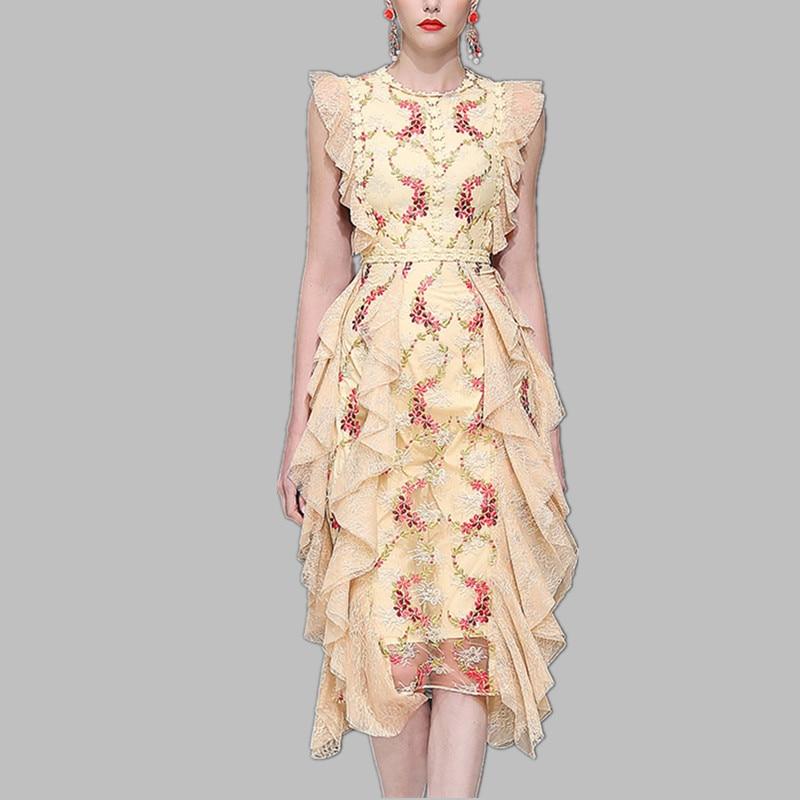 HAMALIEL piste Designer déesse dentelle robe de soirée d'été femmes Floral broderie couches volants longue robe Vintage moulante robe