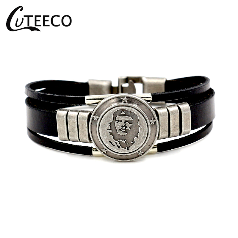 CUTEECO Punk Che Guevara Charm Cuff Bracelets Bangles Genuine Leather Bracelet for Women Mens Bracelets Men Jewelry Accessories in Charm Bracelets from Jewelry Accessories