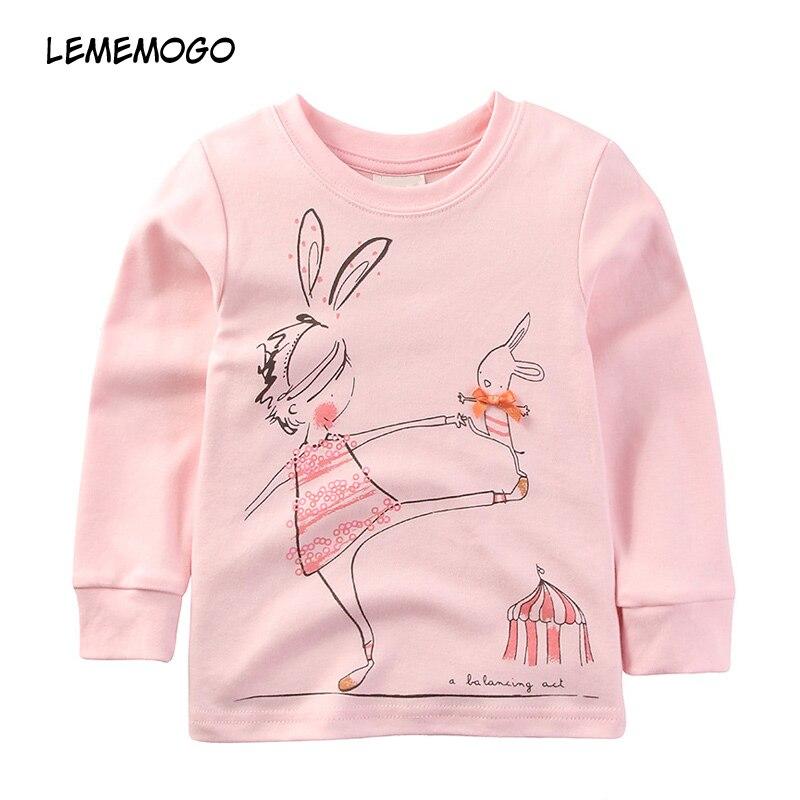 Lememogo 2018 Automne Nouveau Bébé Enfants Coton Tops Enfants Mode  Vêtements Filles de Bande Dessinée À 638ff997d30