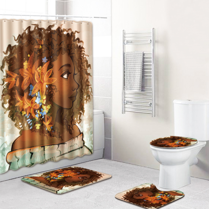 HTB1SOSIUzTpK1RjSZKPq6y3UpXa7 - American style African sexy curls woman pattern waterproof shower curtain bathroom with hook anti-slip mat toilet mat set