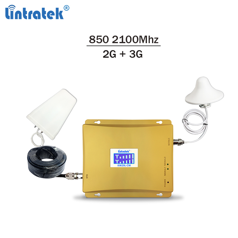 Lintratek 2G 3G signal repeater <font><b>850</b></font> 2100Mhz celullar signal booster GSM <font><b>850</b></font> 3G <font><b>2100</b></font> Mobile phone amplifier B5 B1 Repeater #6 image