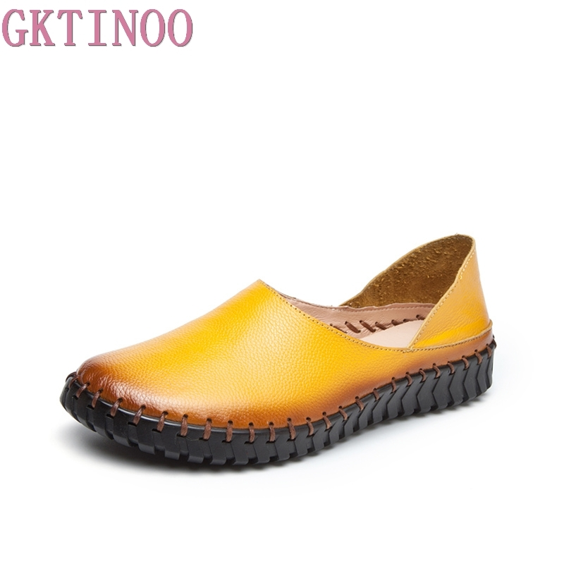 GKTINOO Woman Genuine Leather Shoes Spring Solid Flat Shoes Fashion Women Flats Ballet Women Shoes Soft Bottom Casual Loafers timetang 2018 buckle knitted women single shoes square toe ballet flats soft bottom fashion work shoes woman flat shoes c084