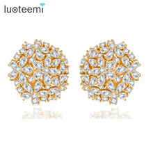 LUOTEEMI Champagne Gold Plated Pure Clear AAA Cubic Zirconia Flower Big Stud Earrings for Women Luxury Bridal Jewelry