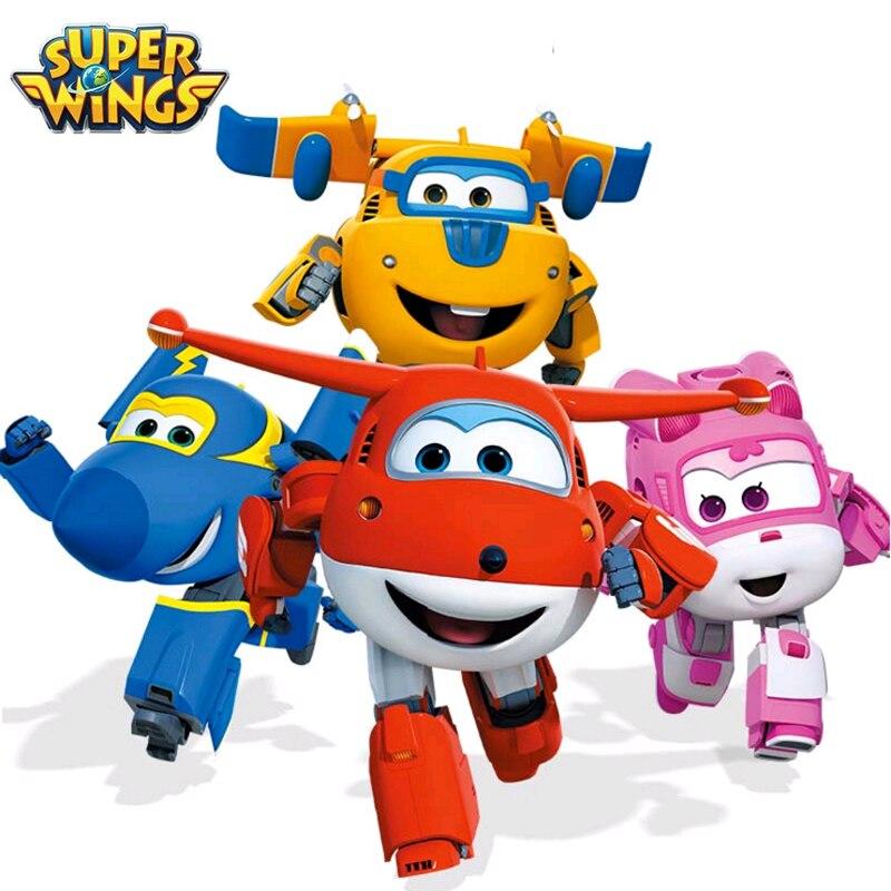 Mini Super Flügeln Mini Flugzeug ABS Robot spielzeug Action-figuren Super Flügel Transformation Jet Cartoon Kinder Kinder Geschenk