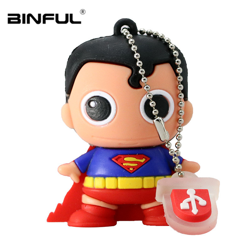 Superman Usb Flash Drive 32gb Batman Pen Drive Cartoon Memory Stick Usb 2 0 4gb 8gb 16gb 32gb 64g 128g U Disk Best Gift Pendrive in USB Flash Drives from Computer Office