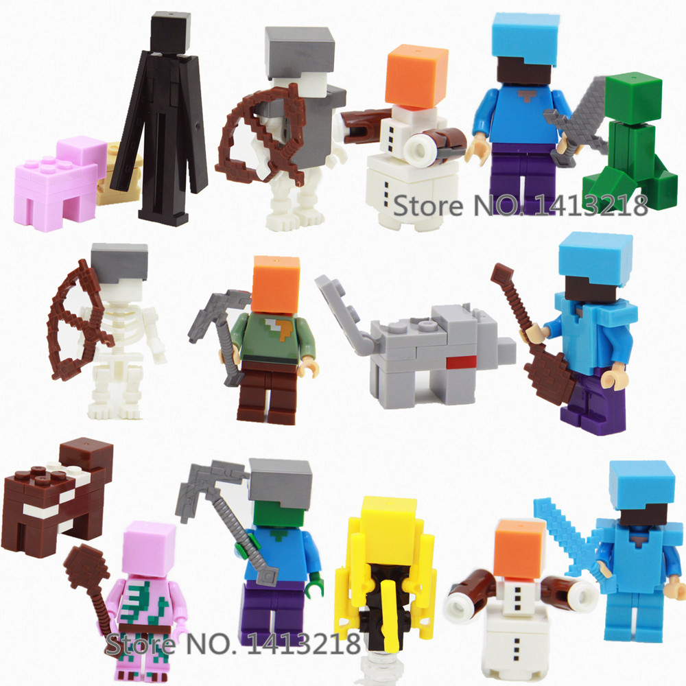 8pcs My World Steve Alex Zombie Pigman Enderman Minecrafted Mini Building Blocks Figures Bricks Gifts Toys for Boys Children 8 in 1 military ship building blocks toys for boys