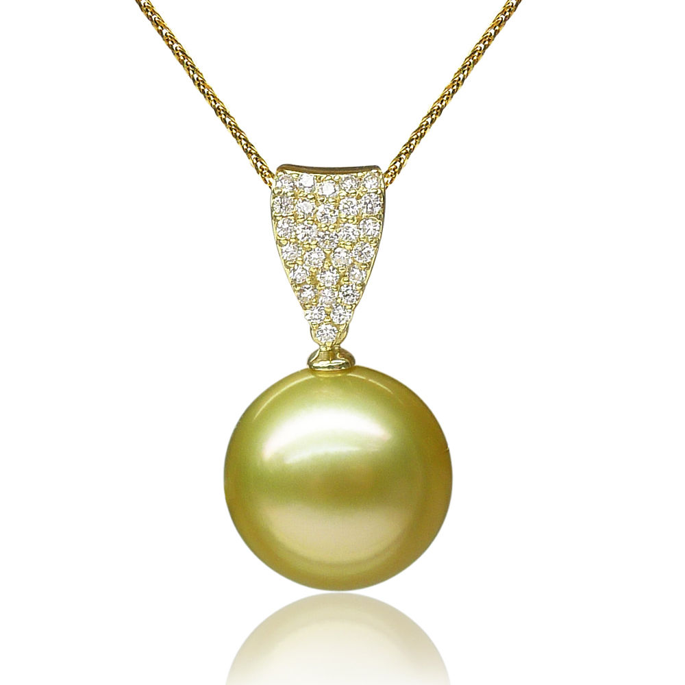 free shipping AAA 13.6mm Golden Real South Sea Pearl  Pendant 18 Solid Yellow Goldfree shipping AAA 13.6mm Golden Real South Sea Pearl  Pendant 18 Solid Yellow Gold