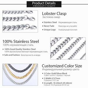 Image 3 - Davielsee Mens Necklace Chain Stainless Steel Black Gold Silver Color 2019 Necklace for Men Jewelry Gift 3 5 7mm LKNM07