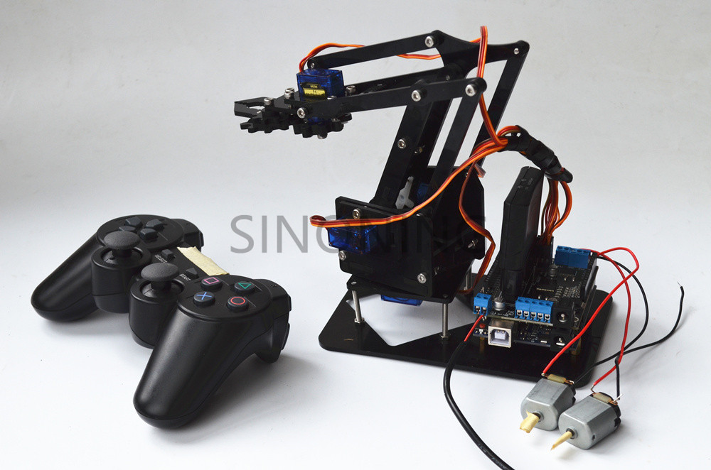 2.4G Remote Control Robot Arm Acrylic 4dof arduino PS2 SNAR10-in Parts & Accessories from Toys & Hobbies    1