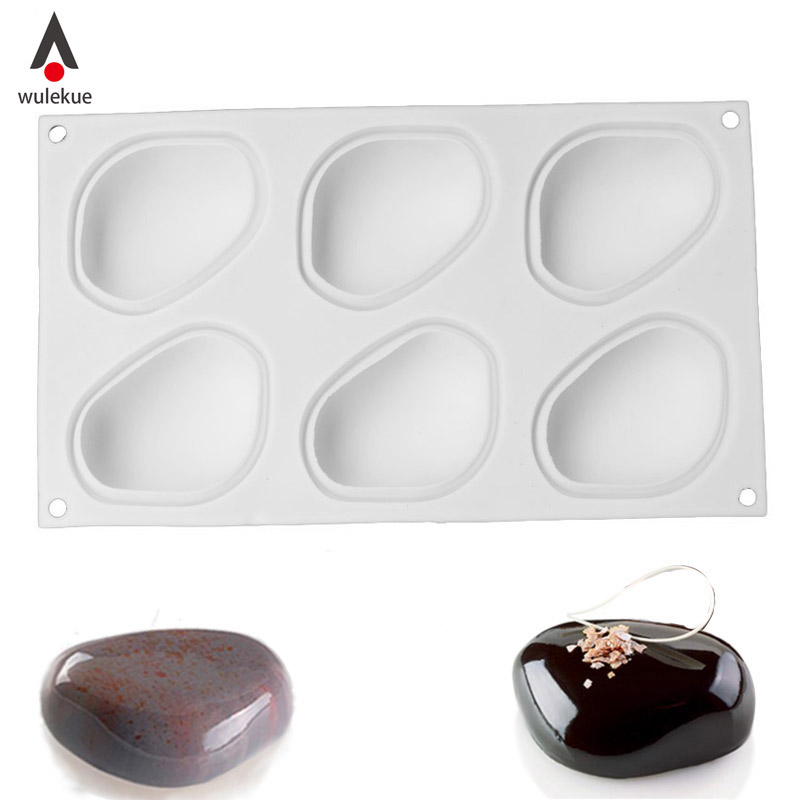 1PCS Silicone Super Vivid Elliptical Pebble Stone Baking Pan For Cakes Mousse Dessert Non-Stick Mold Tools Bakeware Cake Pans