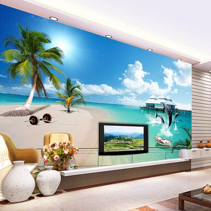 Custom mediterranean blue sky and white clouds beach for Beach wall mural cheap