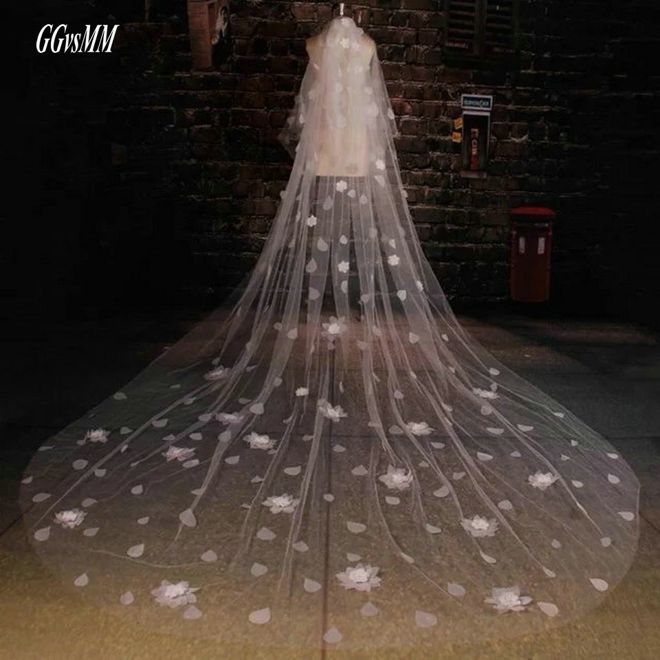 Hot Sell Bridal Veil Appliques White 3 Meters Wedding Veils Ivory Long Veil 2018 Weddings Accessories