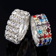 Three Rows Elastic Colorful Ring Full Crystal Jewelry 2016 New Products Women Rhinestone Shiny Silver Bijoux
