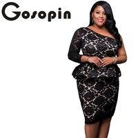 Gosopin Plus Rozmiar Moda Damska Odzież Black Lace Illusion Jedno Ramię Sukienka Peplum Pracy Moda Vestido de Renda LC61332