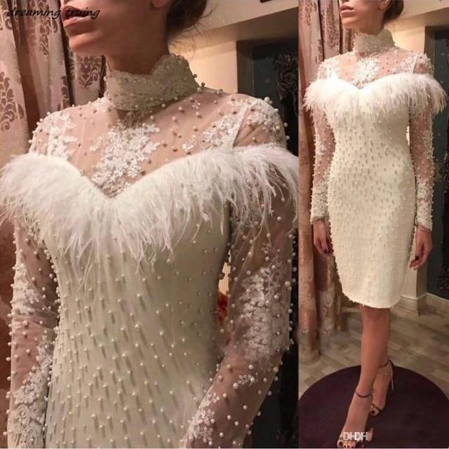 Straight White/Black Long Sleeves Feathers Pearls Cocktail Dresses Knee Length Robe Soiree Dubai Prom Dress 2019