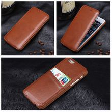 Luxury Genuine Leather Case For iPhone 6 6s 6 Plus Vertical Flip Down Cover Magnetic Closure Capa With Credit Card Holder