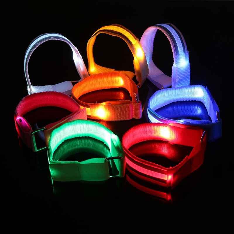 วิ่งเรืองแสงแหวน LED Light สร้อยข้อมือแหวนสะท้อนแสงแขนไฟเตือนความปลอดภัย