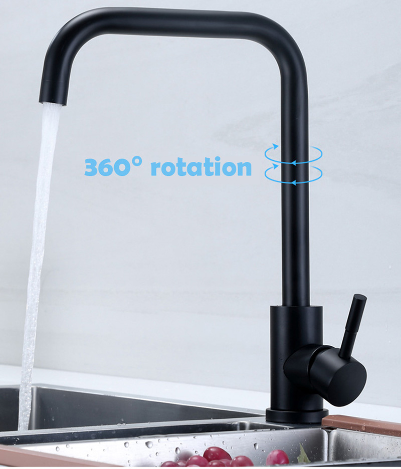 High Quality Stainless Steel Black Painted Steel Kitchen Hot and Cold Faucet Sink Faucet Stainless Steel Simple Style