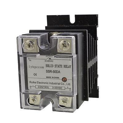 DC to AC 3-32VDC 24-480VAC Solid State Relay SSR 50A SSR-50DA + Heat Sink New free shipping temperature controller 3 32vdc 24 380vac ssr 10a dc ac solid state relay