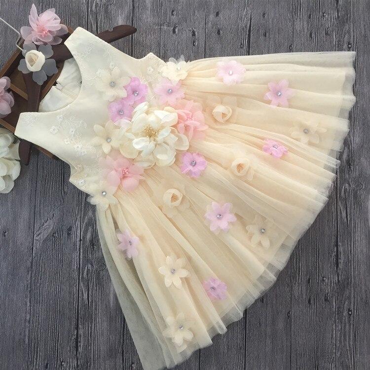 2017 nueva summer Girls Kid 3D flor vestido de alto grado de buena calidad cómodo lindo bebé Ropa Niños Ropa 25 W