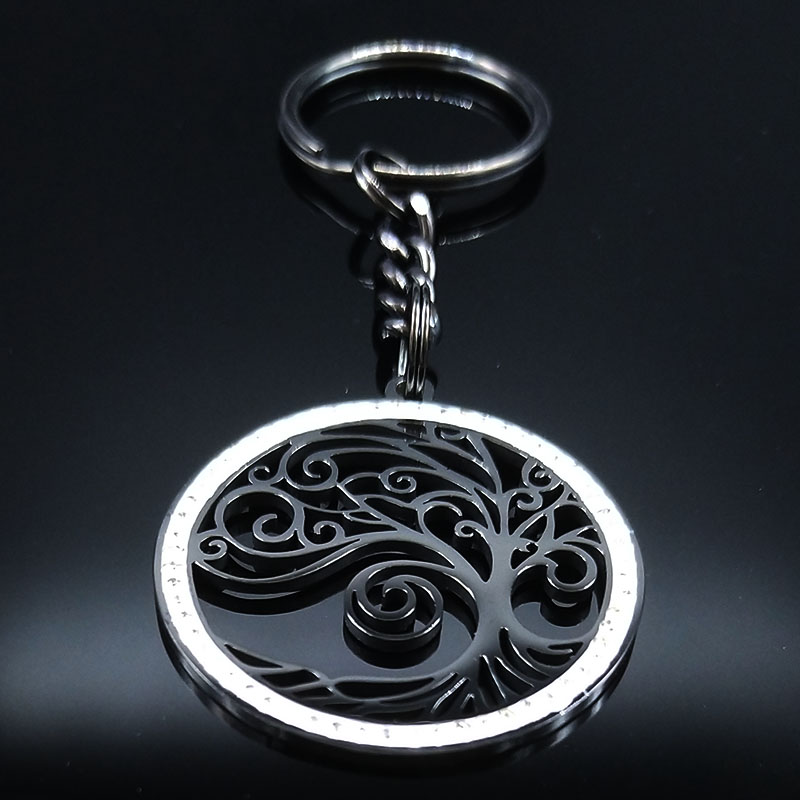 2019 Fashion Tree of Life Stainless Steel Crystal Car key Chain for Women Black Color Keyrings Jewelry key chain car K77631B in Key Chains from Jewelry Accessories
