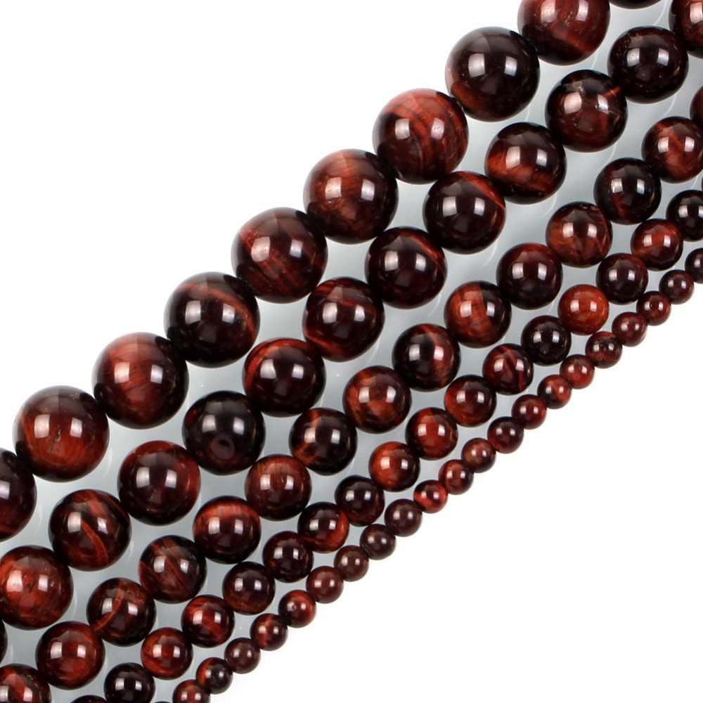 95 stücke Mode Natürliche Stein Red Tiger Eye Achate Runde Lose Perlen Für Schmuck Machen Hademade Armband Halskette 4/ 6/8/10mm