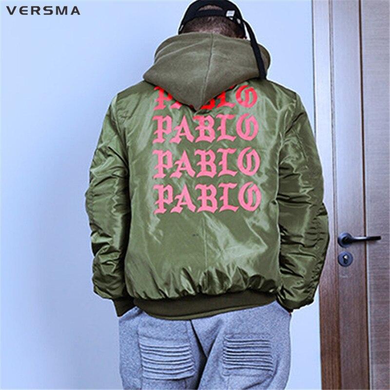VERSMA Stylish Winter I FEEL LIKE PAUL PABLO Kanye West Jacket Coat Men Hooded Padded MA1 Flight Warm Bomber Jackets Coats Men
