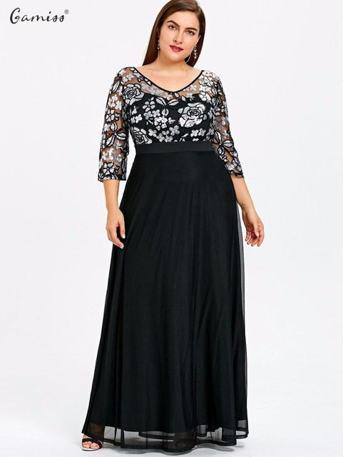 c3654974ad7 Gamiss Plus Size Sequined Floral Maxi Prom Women Party Long Dress 3 4  Length Sleeves