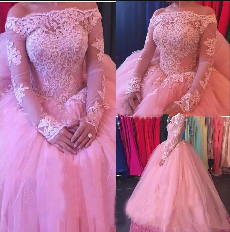 Perfect Long Sleeve Quinceanera Dresses Gown boat Neck Lace Applique Tulle Bodice Long Prom Dresses Formal Party Ball gown
