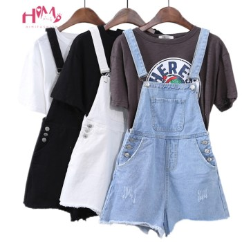Summer Womens Vintage Denim Rompers Korean Ulzzang Fashion Jumpsuit Overalls Harajuku Tassel Side Button Jean Black Playsuits