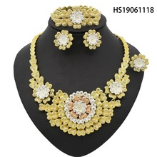 Yulaili Luxury Crystal Dubai Gold Jewelry Sets Rhinestone Bridal Wedding Jewelry Necklace Earrings for Women Party Accessories bridal jewelry sets crystal rhinestone gold color wedding necklace and earrings sets for women trendy jewelry sets accessories