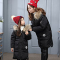 2016 Inverno Casaco Longo Para Baixo para As Meninas Crianças de Pele De Cão Guaxinim para baixo Casaco Meninas Maiores Parkas pato Preto Para Baixo Casaco acolchoado branco para baixo