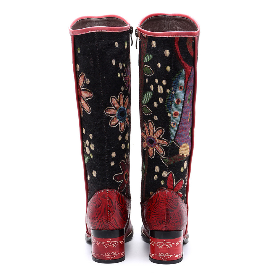 Fashion Patchwork Western Cowboy Boots Women Shoes Bohemian Genuine Leather Shoes Woman Vintage Side Zip Knee High Riding Boots (17)