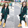 New Autumn Winter Plaid Turn-down Collar Long Sleeve Girls Children Warm Coat Fashion  Worsted Outwear Coats for Girls