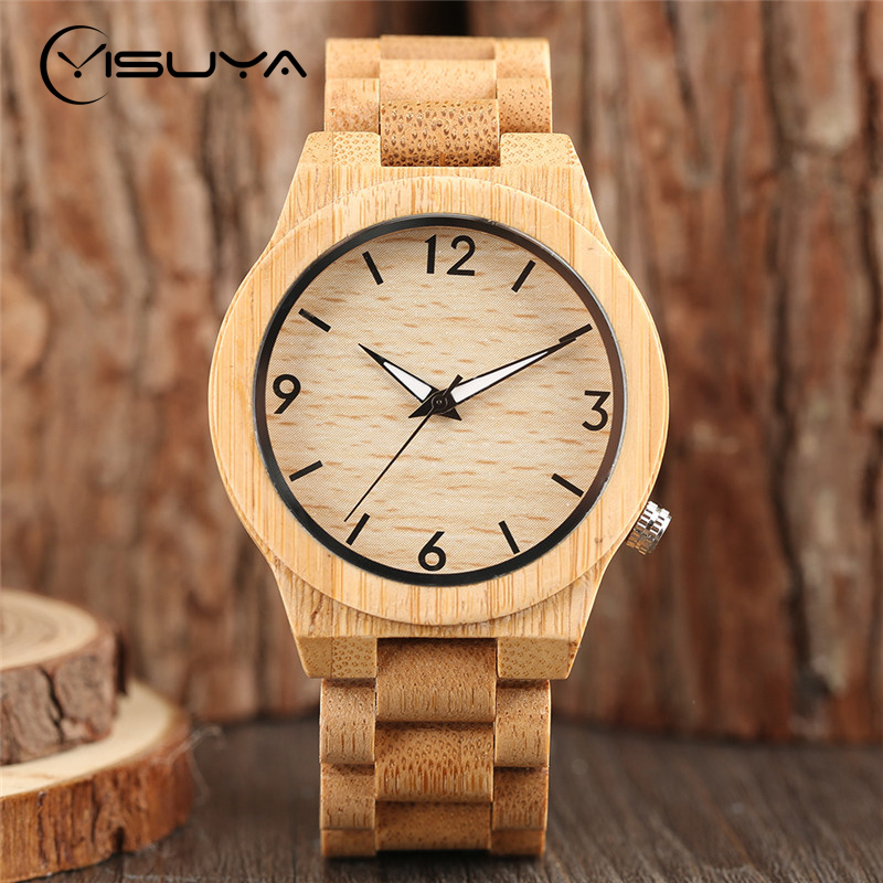 YISUYA Novelty Luminous Natural Bamboo Wood Watch Luxury Men Watches Japanese Quartz Wristwatch with Bracelet Clasp Reloj Madera yisuya luxury wooden watches for men vintage analog quartz handmade walnut zebra bamboo wood band wristwatch clock gifts reloj