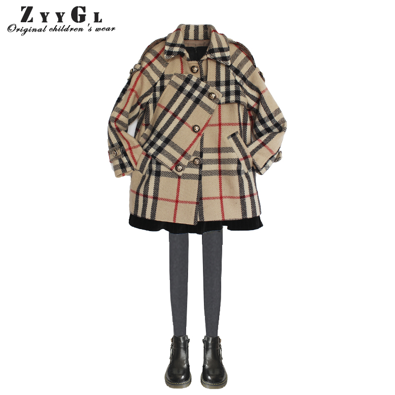 ZYYGL 2017 Winter Warm New children's clothes girls Khaki plaid wool coat baby kids children clothing Toddler Long Sleeve 2016 winter new soft bottom solid color baby shoes for little boys and girls plus velvet warm baby toddler shoes free shipping