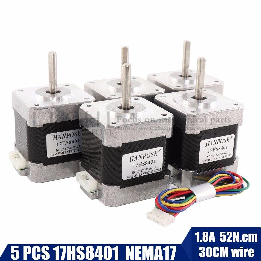 Free shipping 5pcs 4-lead Nema17 Stepper Motor 42 motor Nema 17 motor 42BYGH 1.8A (17HS8401) motor for CNC XYZ