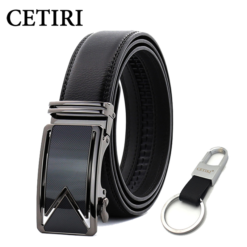 CETIRI 10 Style 110cm 120cm 130cm 140cm 150cm 160cm Fashion Designers Men Automatic Buckle Genuine Leather   Belt   Business Black