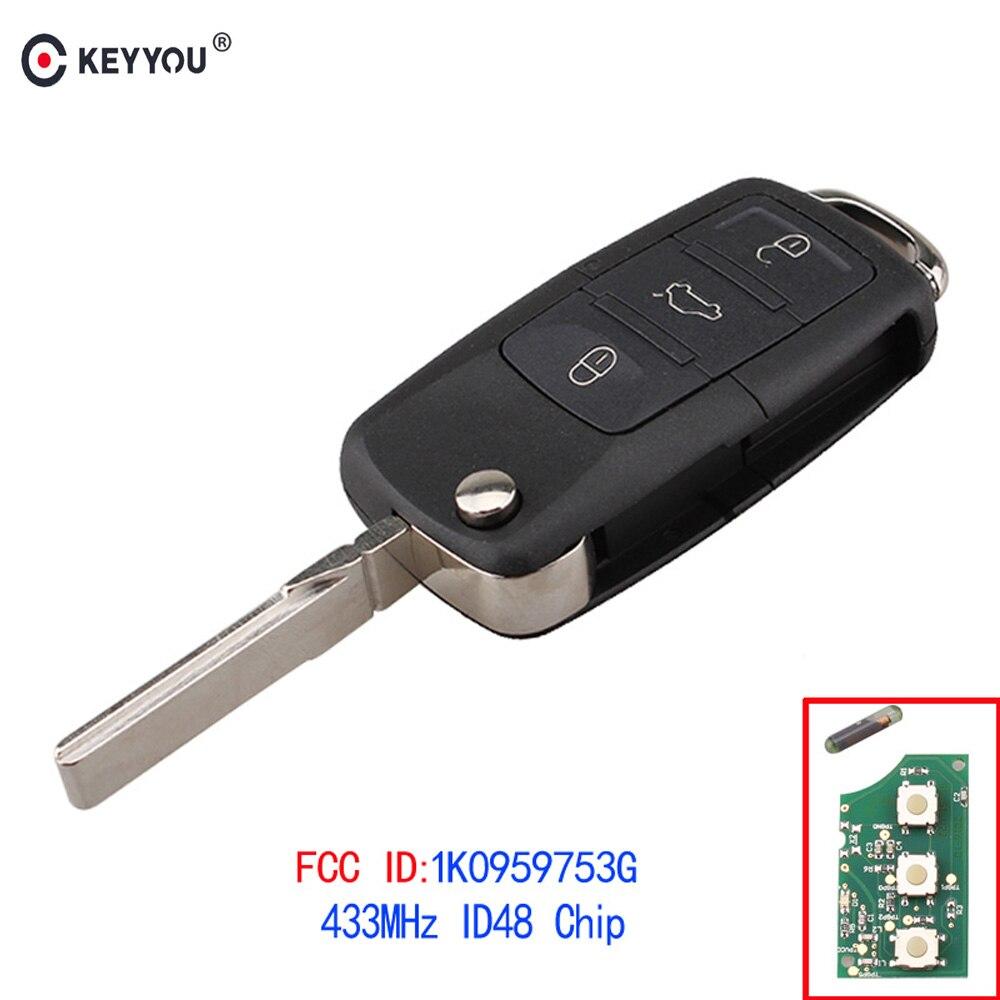 KEYYOU 3 boutons télécommande porte-clés 434MHz avec ID48 1K0959753G pour VOLKSWAGEN VW PASSAT B5 B6 Skoda Tiguan Touran GOLF JETTA POLO