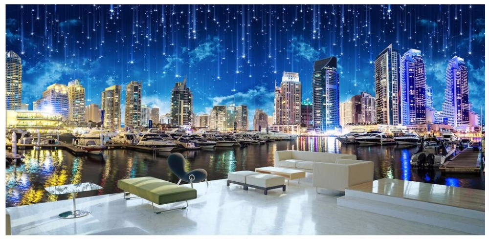 WDBH custom mural 3d photo wallpaper on the wall High building night city landscape 3d wall murals wallpaper for living room custom photo wallpaper 3d wall murals balloon shell seagull wallpapers landscape murals wall paper for living room 3d wall mural