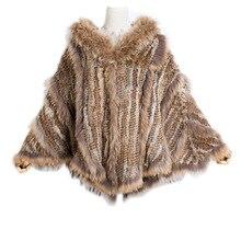 2018 Russian europea fashion warm Ladies Large Rabbit Fur Poncho Hooded Raccoon Dog Trimming big hood cape shawl fast shipp