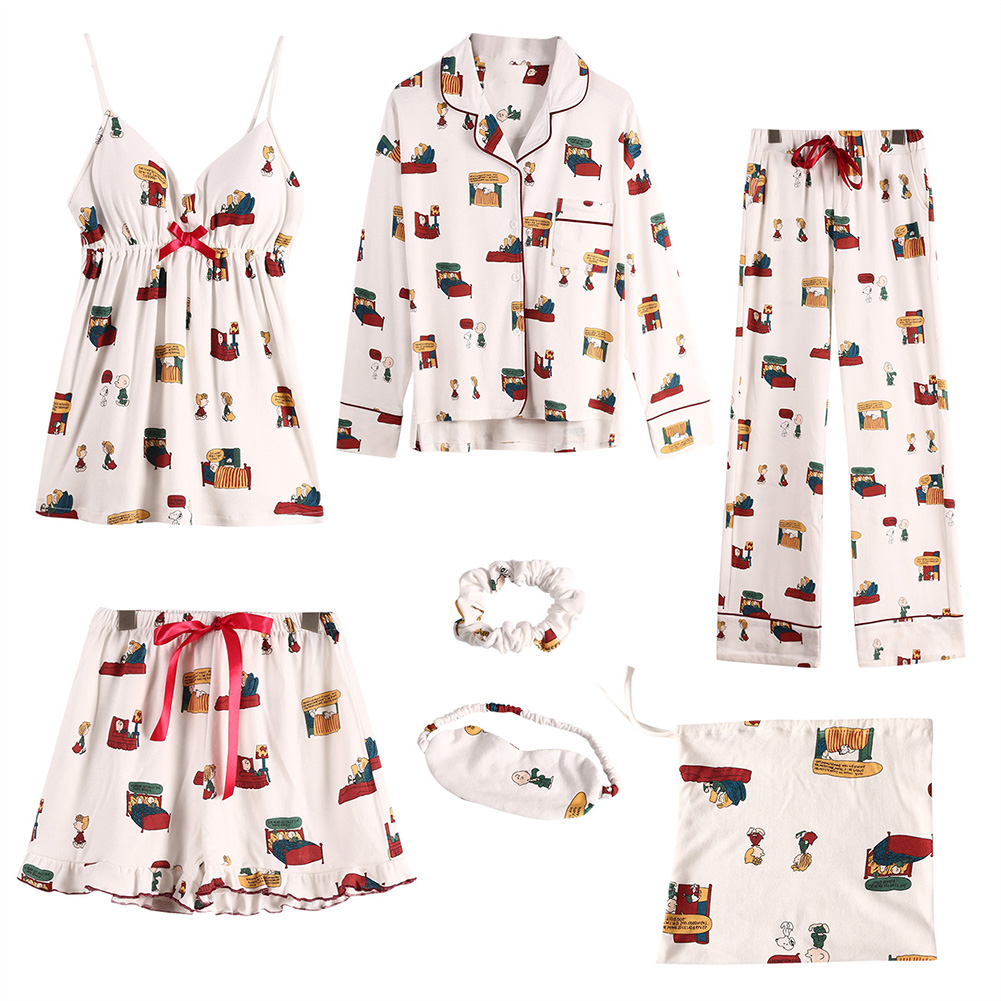 Snoopy  7-Piece Set  Bow Tie Lapel Neck Sleepwear Long Section Printed   Shorts  Eye Mask  Comfort  Pajamas  Домашняя Одежда